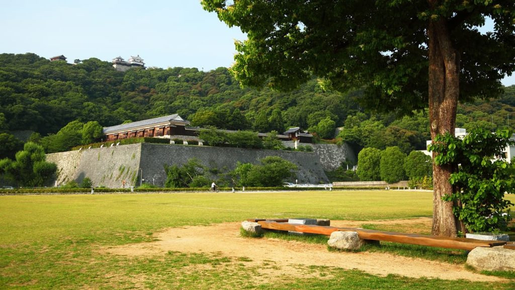城山公園で遠目に松山城