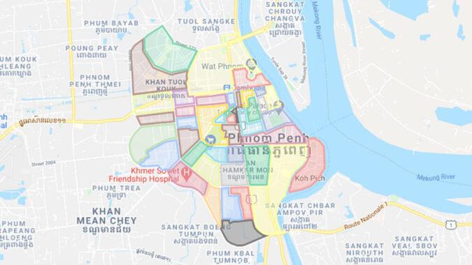 カンボジア、プノンペンのエリアマップを作ってみた